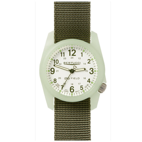 Bertucci DX3 Luminous Resin Watch, Olive Green Nylon Strap, White Dial - 11028