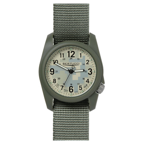 Bertucci DX3 Field Resin Watch, Olive Drab Nylon Strap, Digicam Camouflage Dial 11032