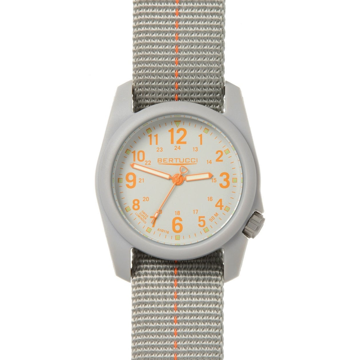 Bertucci DX3 Plus Field Resin Watch (Dash-Striped Granite Gray/Orange Nylon Strap) 11045
