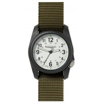 Bertucci DX3 Black Resin Watch, Olive Nylon Strap, White Dial - 11049
