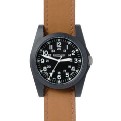 Bertucci A-3P Sportsman Vintage Field Watch - Black Dial Tan Leather Band 13363