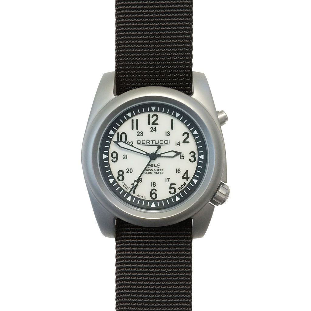 Bertucci A-2SEL Super Illuminated Field Watch - Ghost Grey Dial Black Band 22025