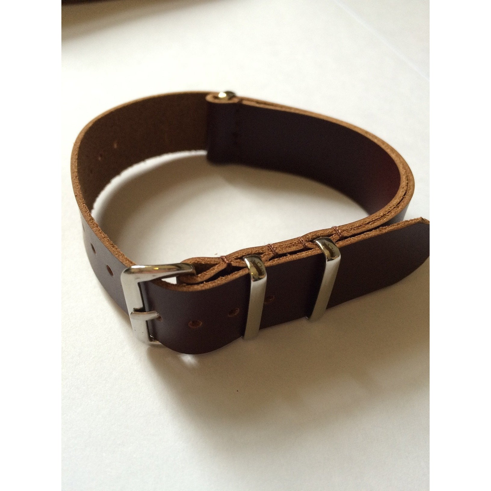 Brown Leather Nato Strap - Watchfinder General - UK suppliers of Russian Vostok Parnis Watches MWC G10  - 1