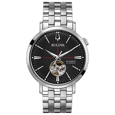 Bulova Classic Automatic Watch with Black Dial and Stainless Steel Bracelet - 96A199
