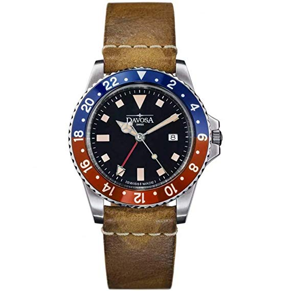 Davosa Vintage GMT Diver Pepsi Dial with Leather Strap Watch - 16250095