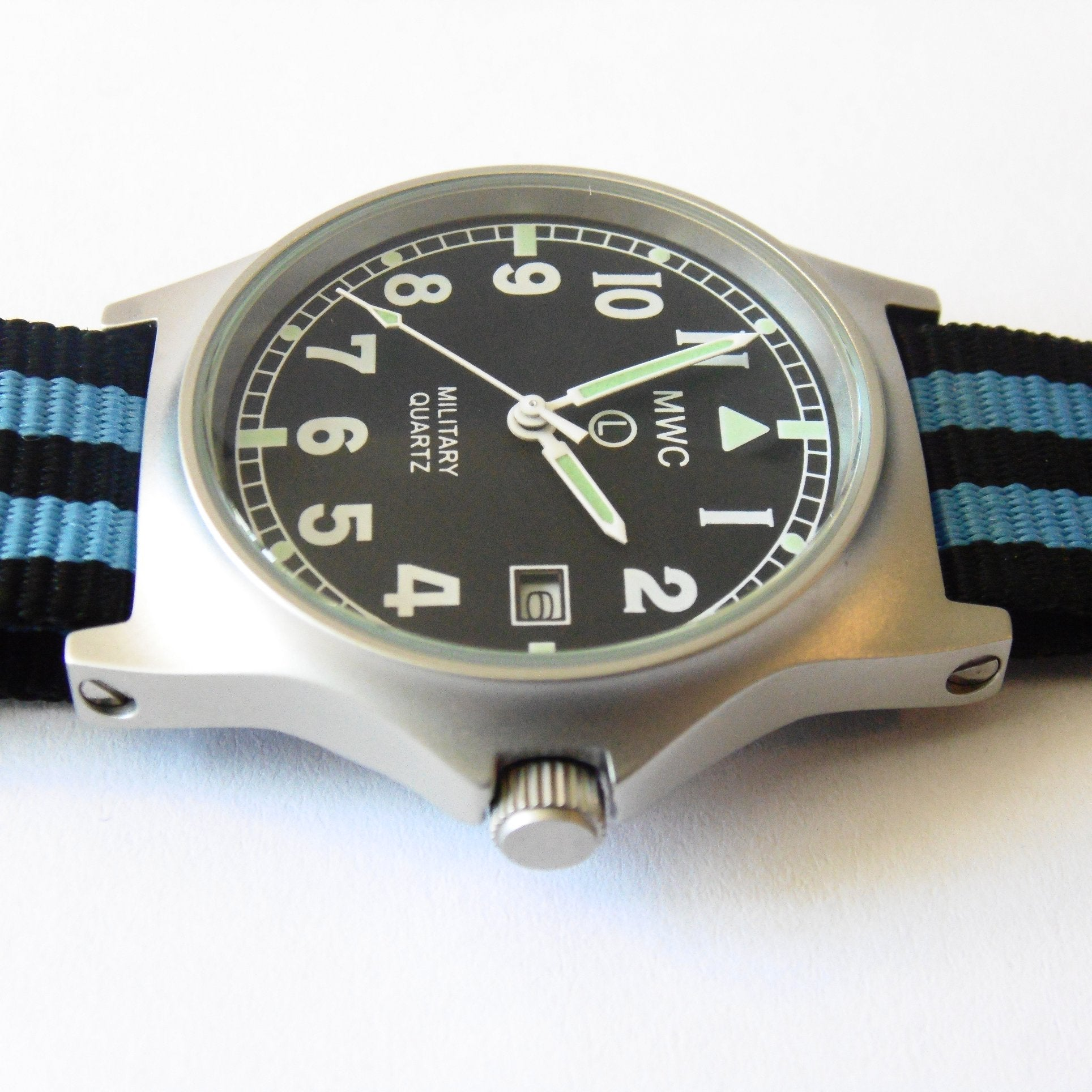 MWC G10 LM Military Watch (Black and Blue Nato Strap) - Watchfinder General - UK suppliers of Russian Vostok Parnis Watches MWC G10  - 3