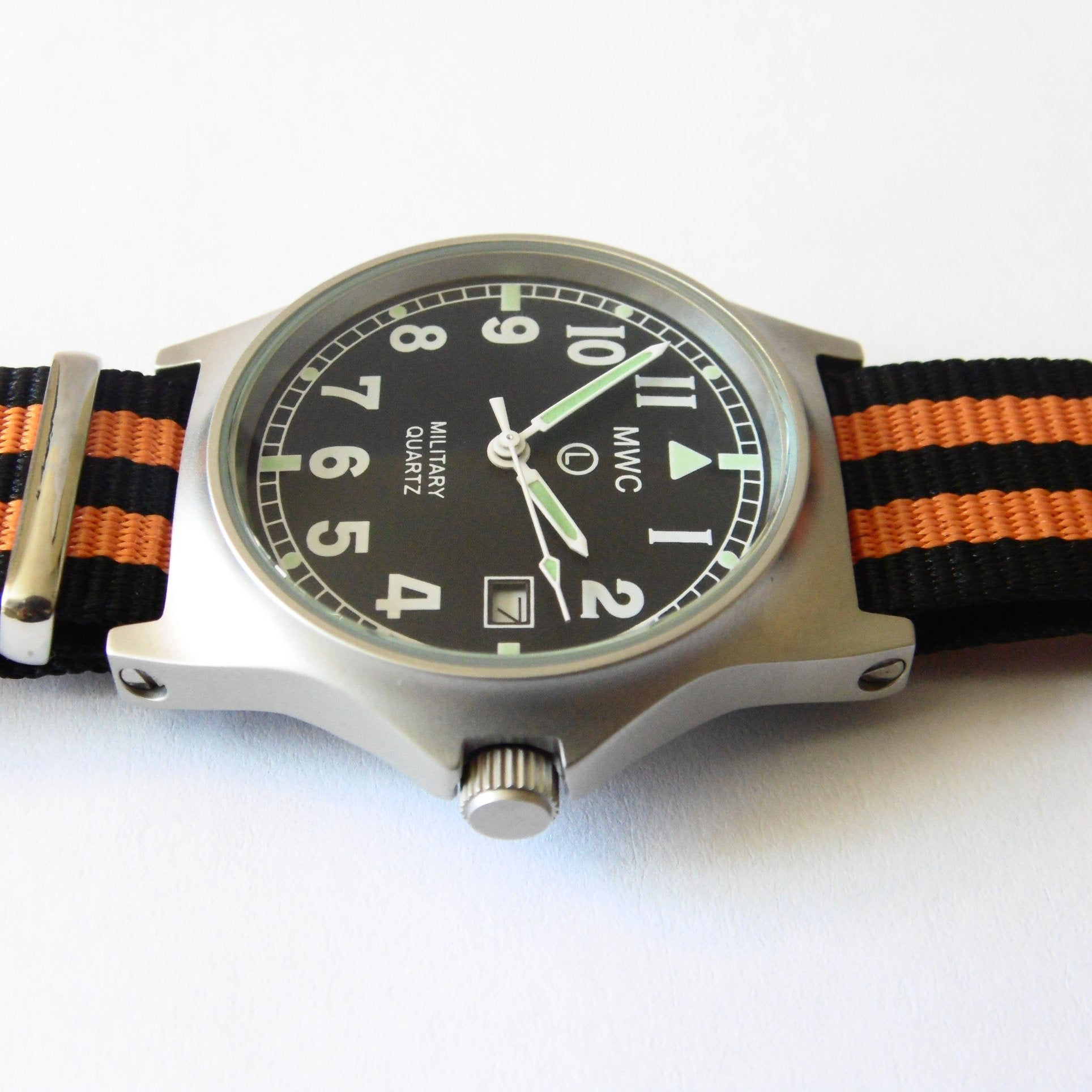 MWC G10 LM Military Watch (Black and Orange Nato Strap) - Watchfinder General - UK suppliers of Russian Vostok Parnis Watches MWC G10  - 3