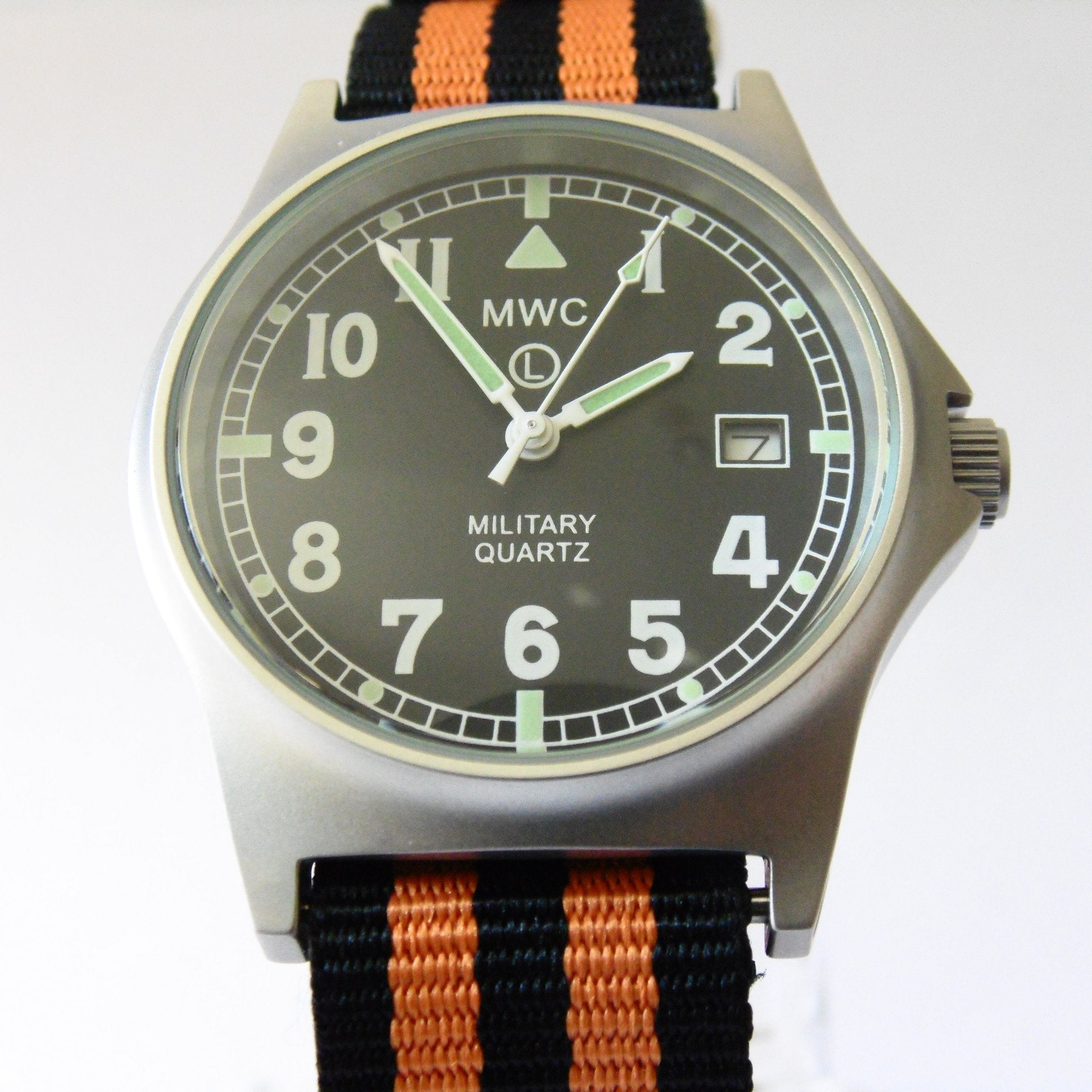 MWC G10 LM Military Watch (Black and Orange Nato Strap) - Watchfinder General - UK suppliers of Russian Vostok Parnis Watches MWC G10  - 1