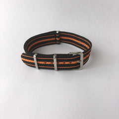 Black & Orange 3 Stripes Nato Strap