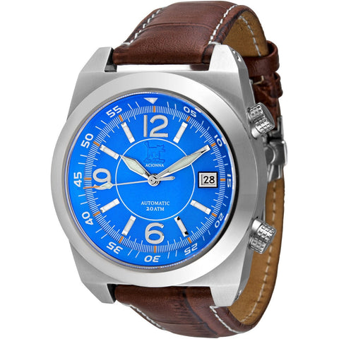 Lew and Huey Acionna Automatic Watch (Blue, White & Orange) - Watchfinder General - UK suppliers of Russian Vostok Parnis Watches MWC G10  - 2