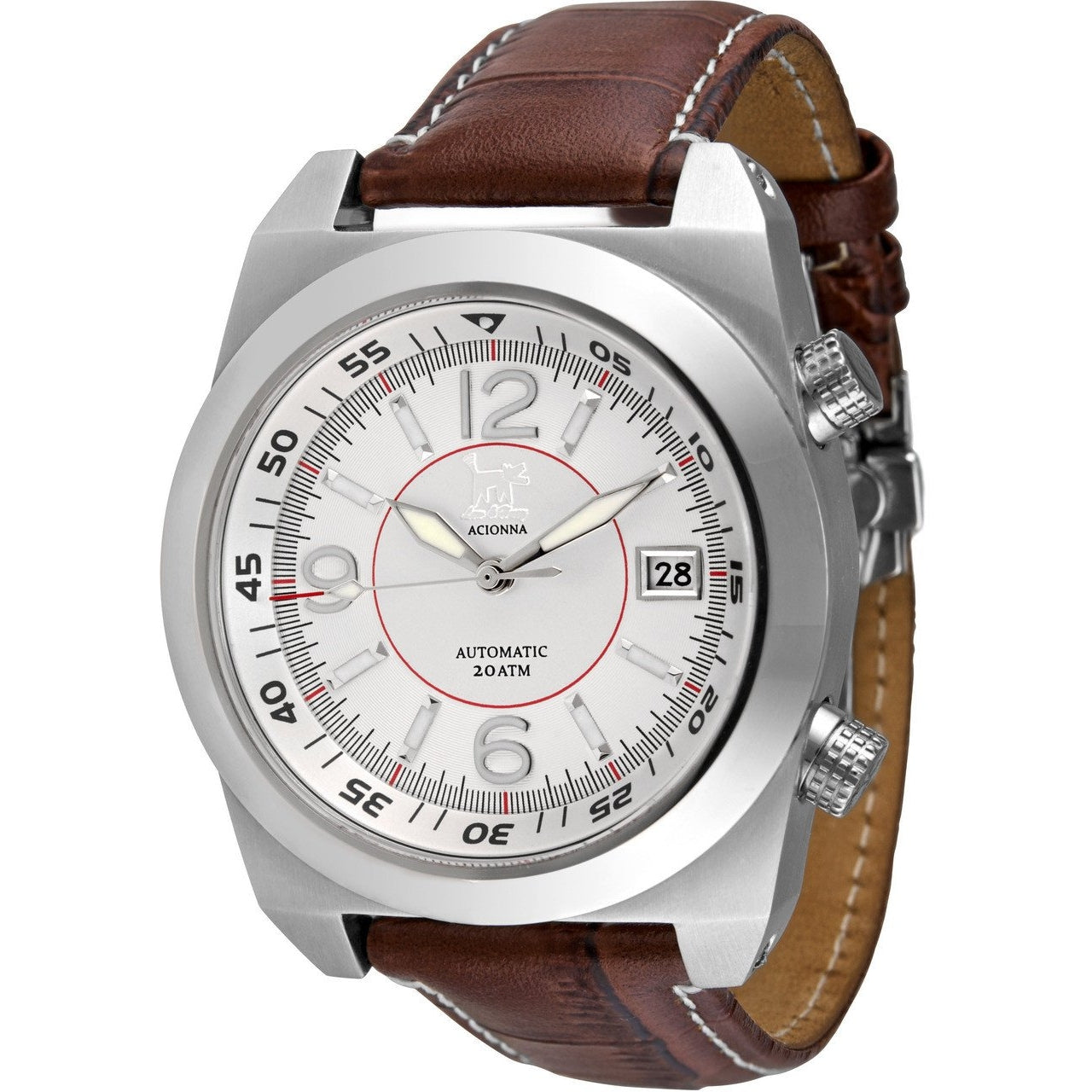 Lew and Huey Acionna Automatic Watch (White & Red) - Watchfinder General - UK suppliers of Russian Vostok Parnis Watches MWC G10  - 2
