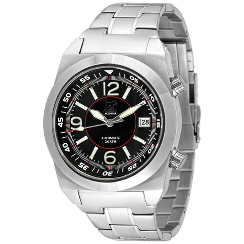 Lew and Huey Acionna Automatic Watch (Black, White & Red)