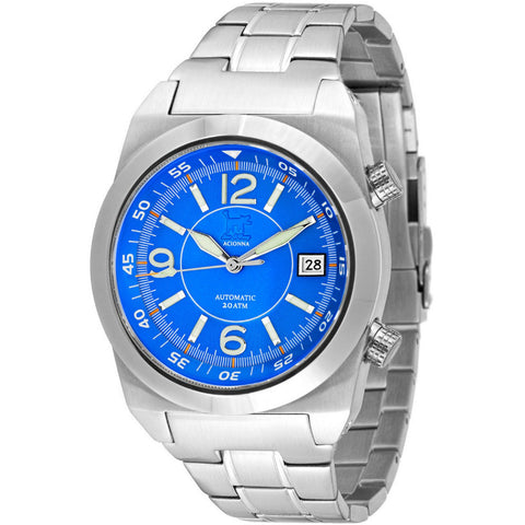 Lew and Huey Acionna Automatic Watch (Blue, White & Orange)