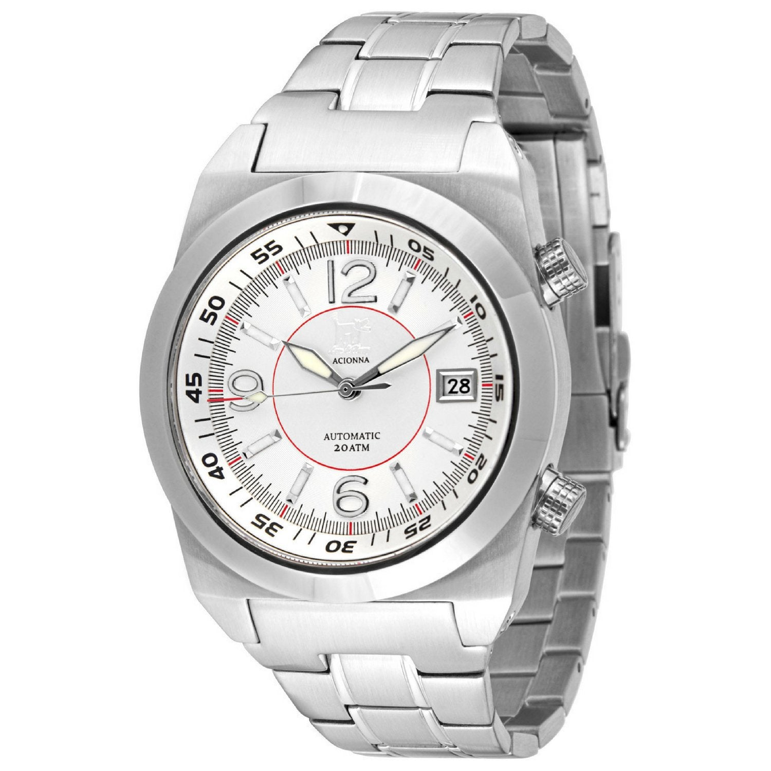 Lew and Huey Acionna Automatic Watch (White & Red)
