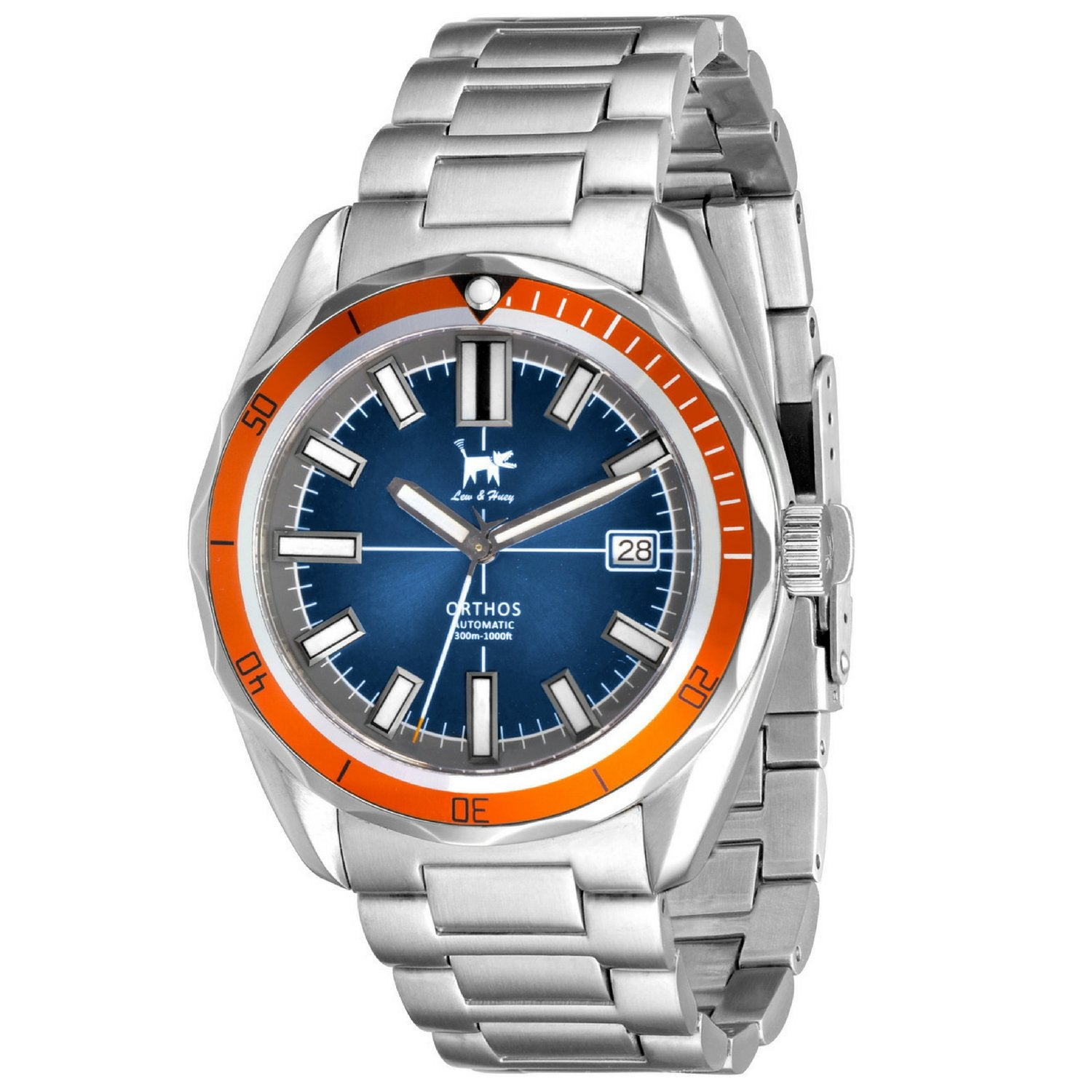 Lew and Huey Orthos Automatic Watch (Blue & Orange)