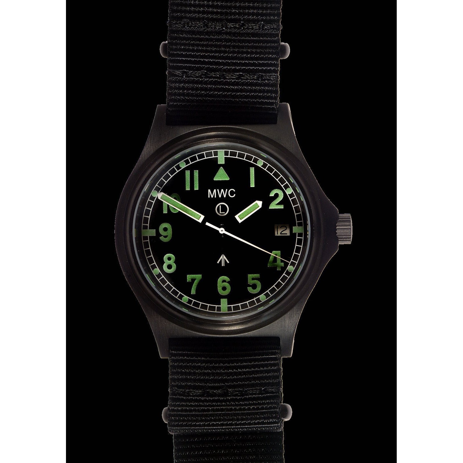 MWC G10 300m / 1000ft Water resistant Limited Edition Brushed Black PVD Steel Military Watch with Sapphire Crystal on NATO Strap