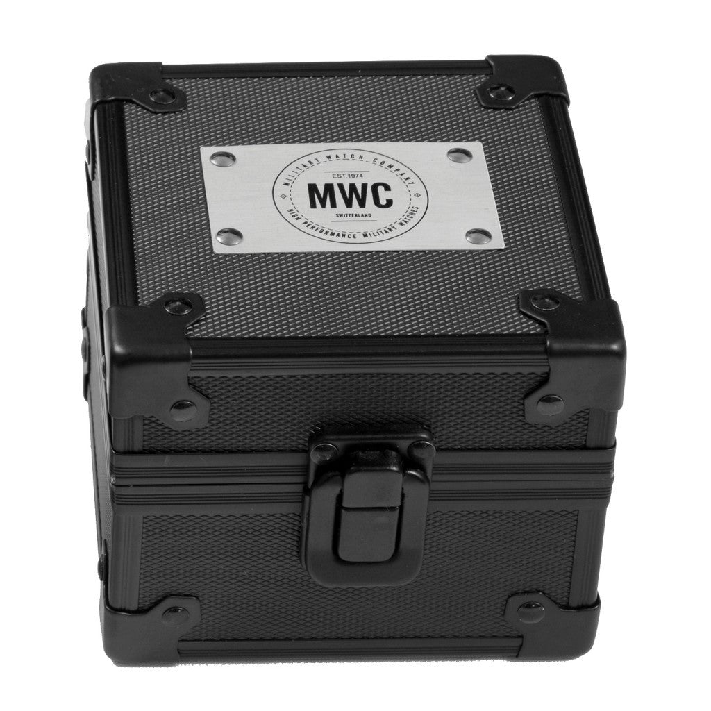 MWC Black Metal Watch Box with Logo - Watchfinder General - UK suppliers of Russian Vostok Parnis Watches MWC G10  - 1