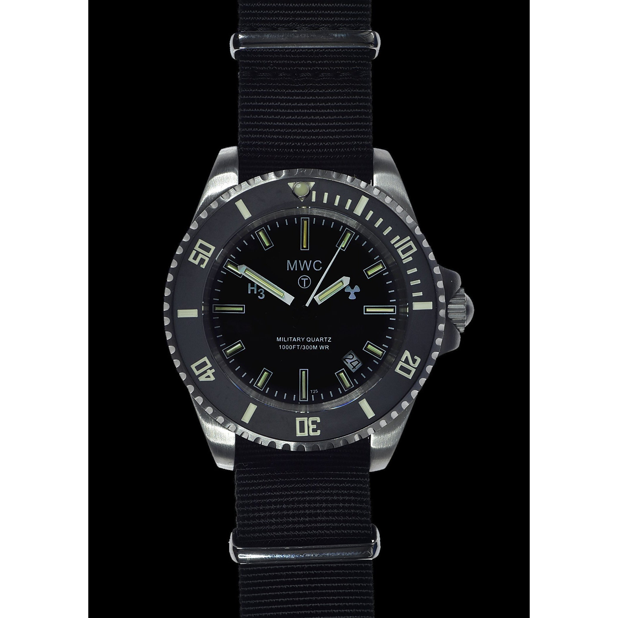 MWC 300m Stainless Quartz Submariner with Tritium GTLS