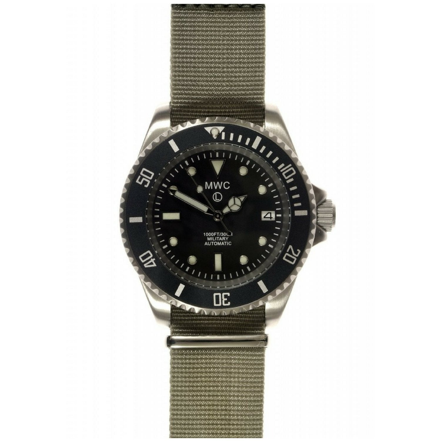 MWC Automatic Military Divers Watch, Sapphire Crystal and Ceramic Bezel on NATO
