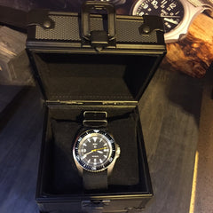 MWC Black Metal Watch Box with Logo - Watchfinder General - UK suppliers of Russian Vostok Parnis Watches MWC G10  - 3