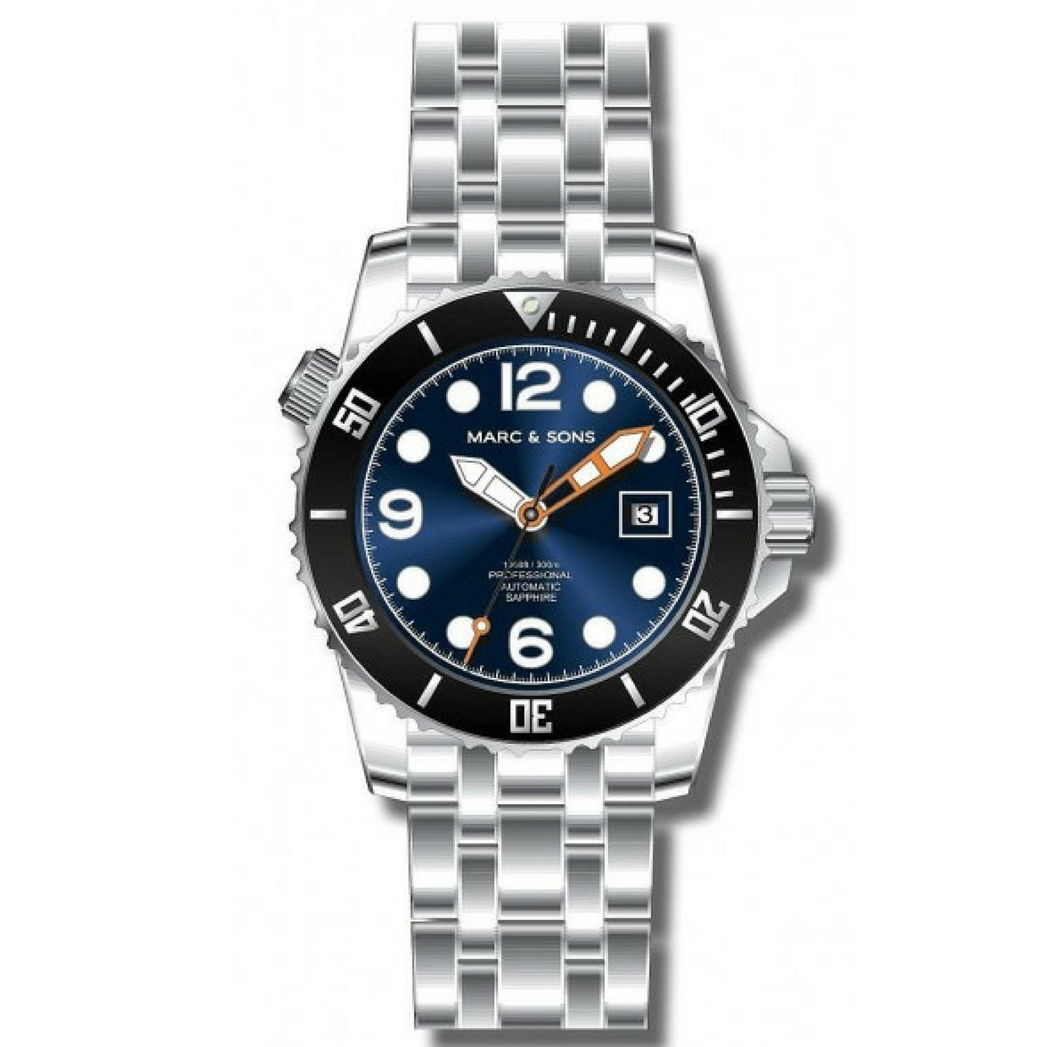 MARC & SONS 300M Professional automatic Diver watch MSD-034