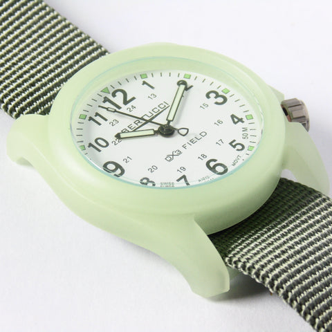 Bertucci DX3 Luminous Resin Watch, Olive Green Nylon Strap, White Dial - 11028 - Watchfinder General - UK suppliers of Russian Vostok Parnis Watches MWC G10  - 1