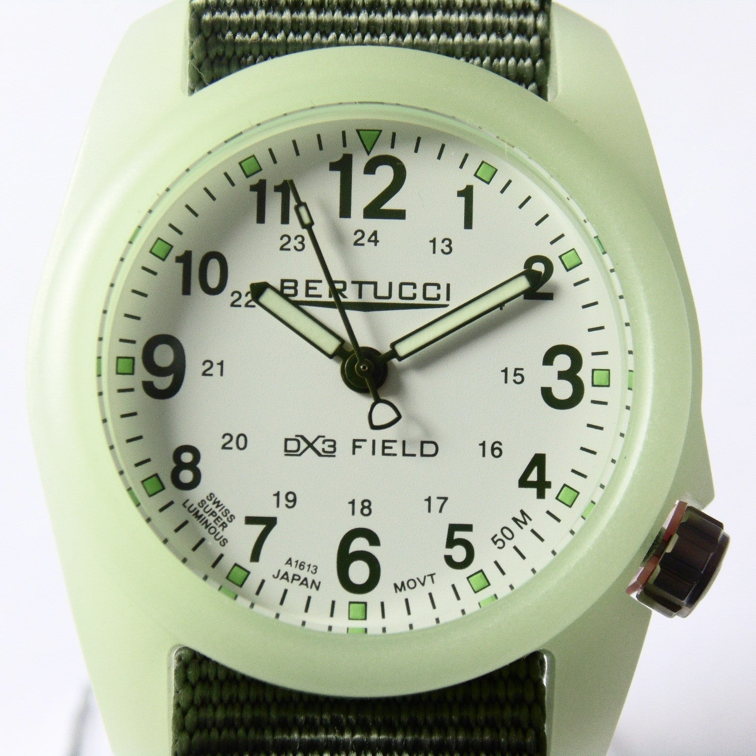 Bertucci DX3 Luminous Resin Watch, Olive Green Nylon Strap, White Dial - 11028 - Watchfinder General - UK suppliers of Russian Vostok Parnis Watches MWC G10  - 3