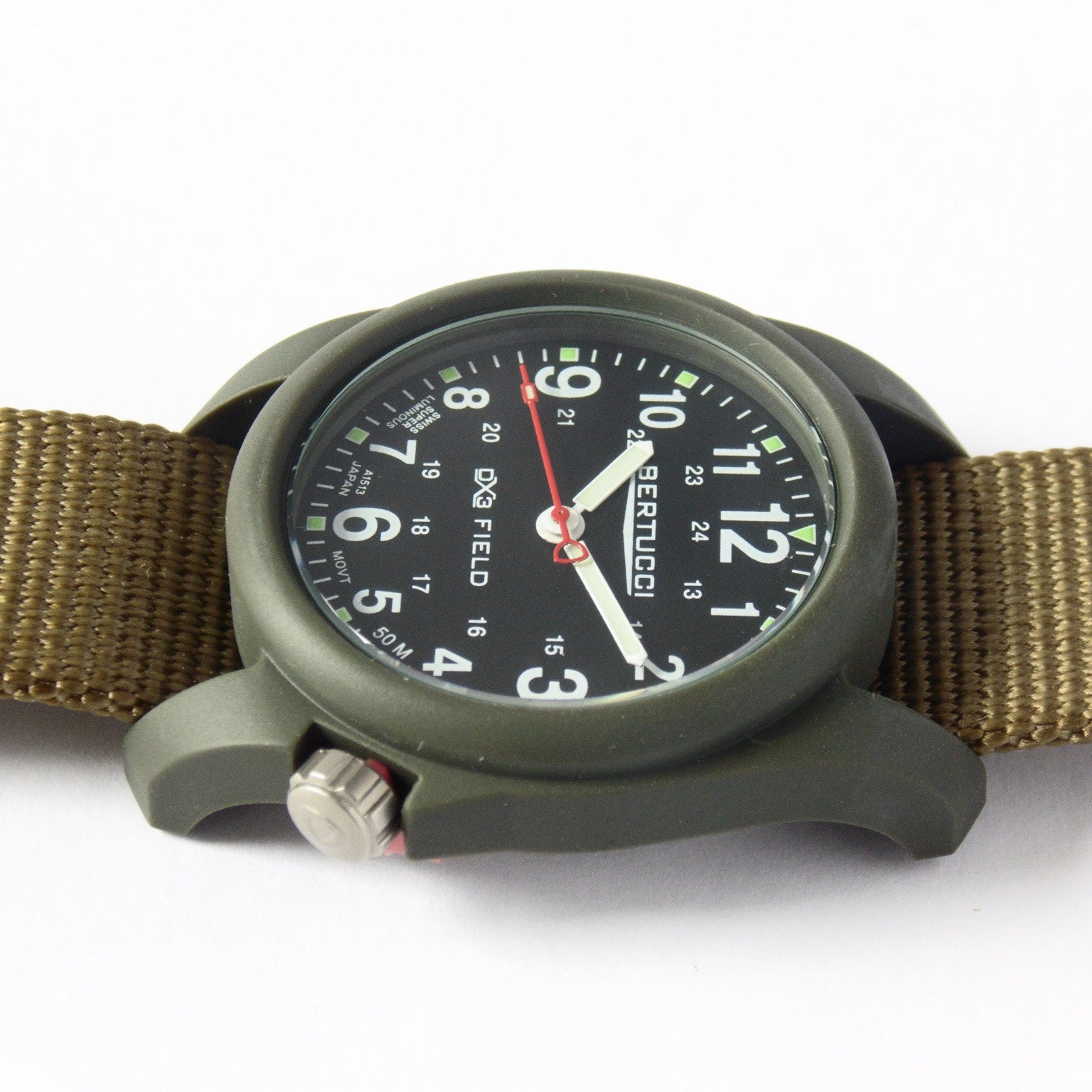 Bertucci DX3 Olive Resin Watch, Coyote Nylon Strap, Black Dial - 11027 - Watchfinder General - UK suppliers of Russian Vostok Parnis Watches MWC G10  - 4