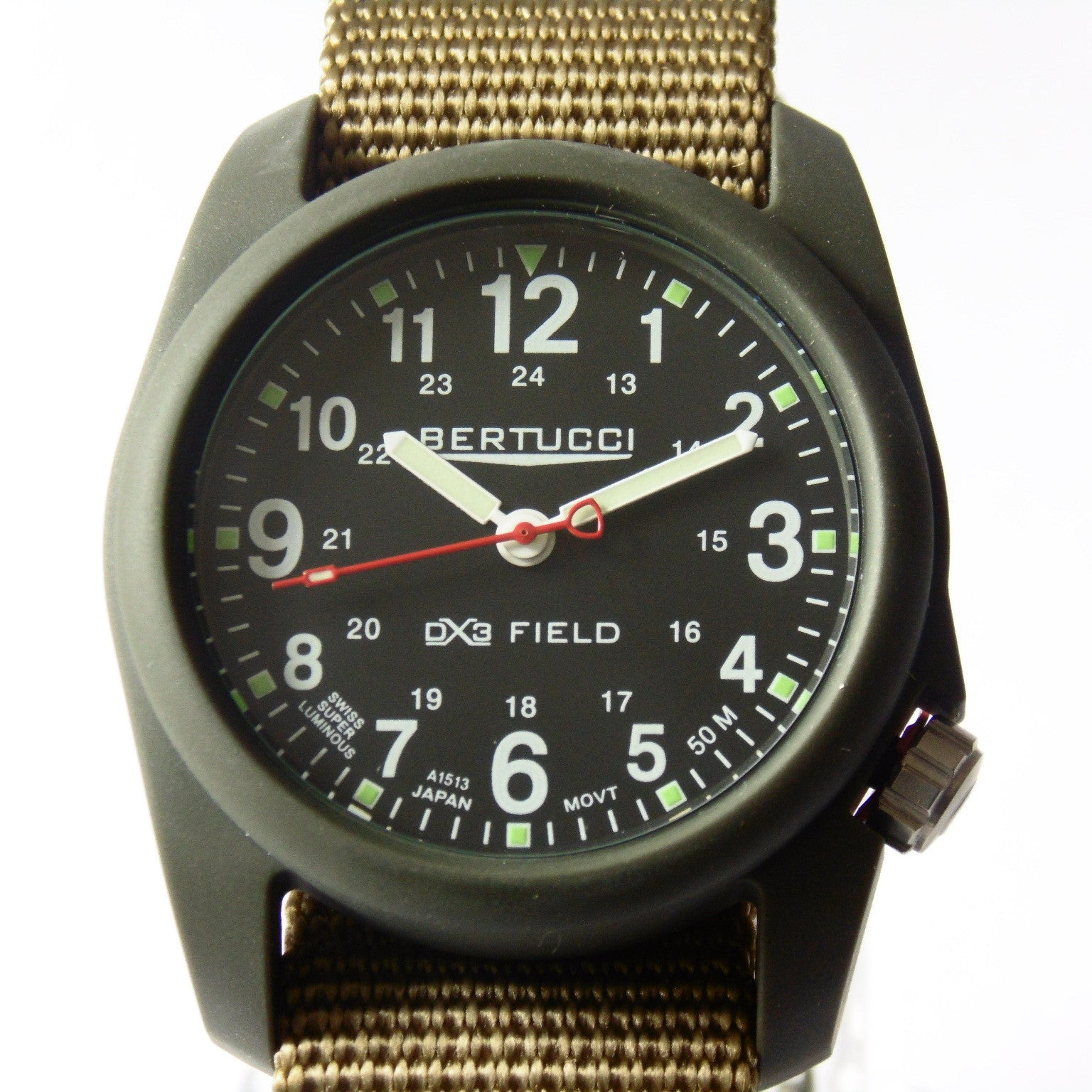 Bertucci DX3 Olive Resin Watch, Coyote Nylon Strap, Black Dial - 11027 - Watchfinder General - UK suppliers of Russian Vostok Parnis Watches MWC G10  - 3
