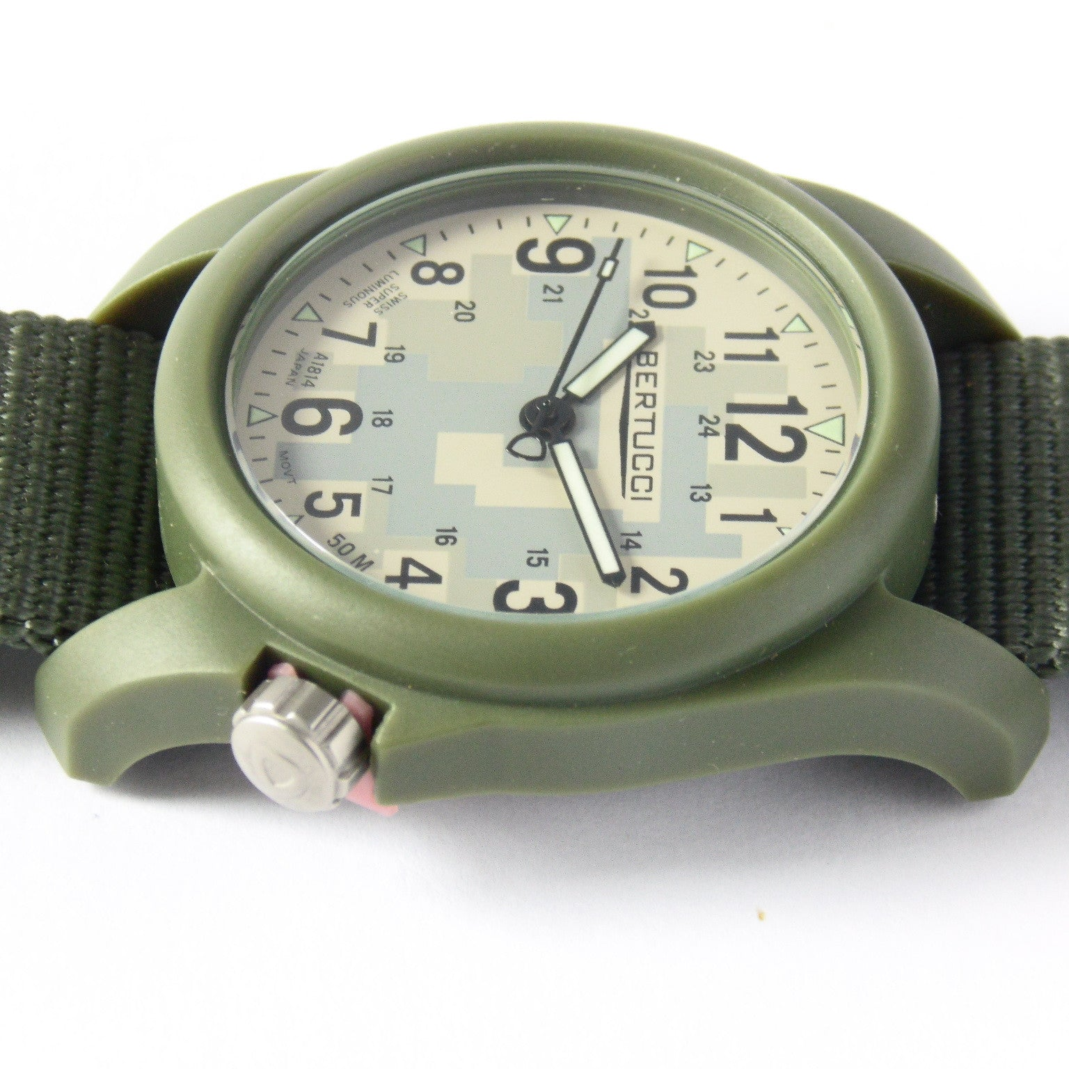 Bertucci DX3 Field Resin Watch, Olive Drab Nylon Strap, Digicam Camouflage Dial 11032 - Watchfinder General - UK suppliers of Russian Vostok Parnis Watches MWC G10  - 4