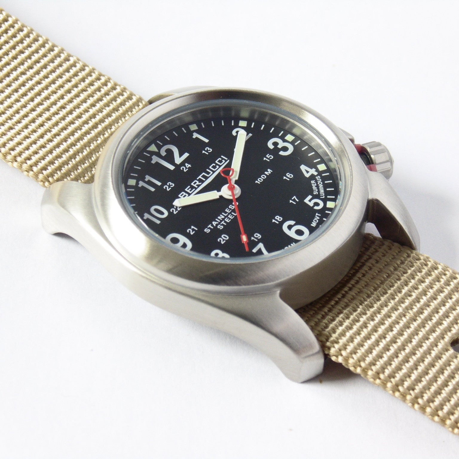 Bertucci 11052 A-2S Field Watch (Defender Khaki Strap) - Watchfinder General - UK suppliers of Russian Vostok Parnis Watches MWC G10  - 2