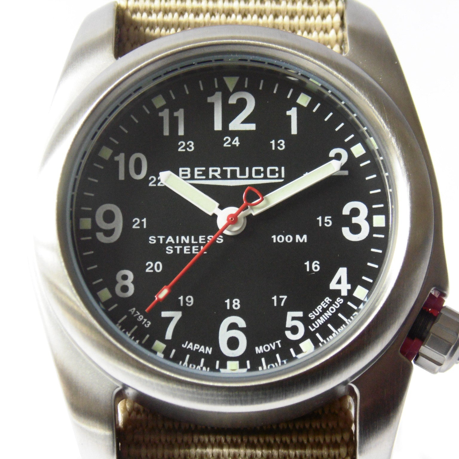 Bertucci 11052 A-2S Field Watch (Defender Khaki Strap) - Watchfinder General - UK suppliers of Russian Vostok Parnis Watches MWC G10  - 3