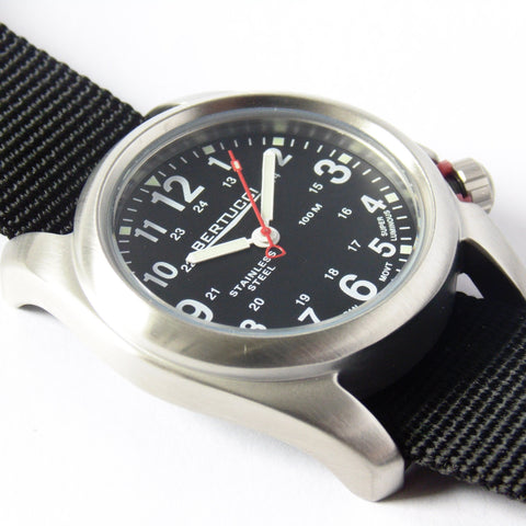 Bertucci 11050 A-2S Field Watch (Black Strap) - Watchfinder General - UK suppliers of Russian Vostok Parnis Watches MWC G10  - 2
