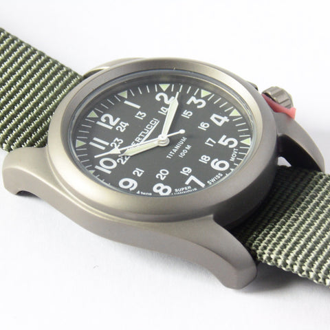 Bertucci A-2T Vintage Marine Green Titanium Watch with Olive Drab Nylon Strap 12030 - Watchfinder General - UK suppliers of Russian Vostok Parnis Watches MWC G10  - 2