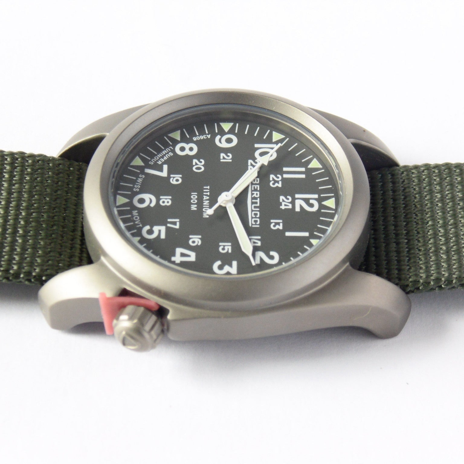 Bertucci A-2T Vintage Marine Green Titanium Watch with Olive Drab Nylon Strap 12030 - Watchfinder General - UK suppliers of Russian Vostok Parnis Watches MWC G10  - 4