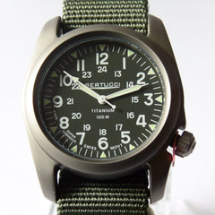 Bertucci A-2T Vintage Marine Green Titanium Watch with Olive Drab Nylon Strap 12030 - Watchfinder General - UK suppliers of Russian Vostok Parnis Watches MWC G10  - 3
