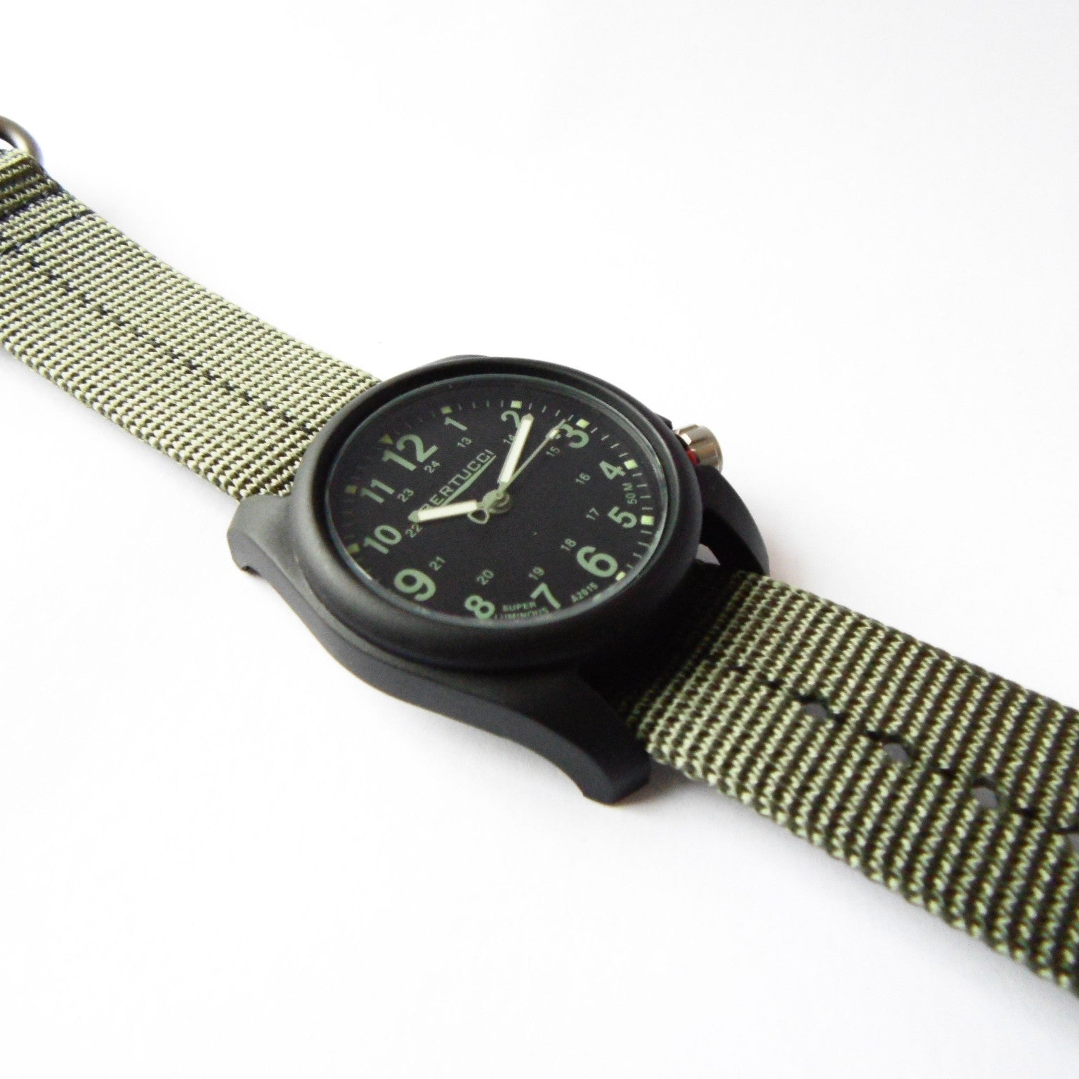 Bertucci DX3 Plus Field Resin Watch (Dash-Striped Drab Nylon Strap) 11040 - Watchfinder General - UK suppliers of Russian Vostok Parnis Watches MWC G10  - 2