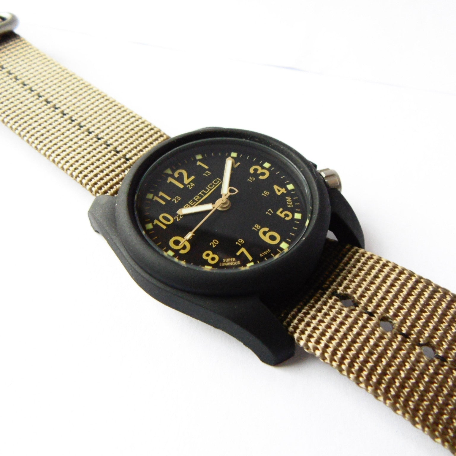 Bertucci DX3 Plus Field Resin Watch (Dash-Striped Desert Nylon Strap) 11041 - Watchfinder General - UK suppliers of Russian Vostok Parnis Watches MWC G10  - 2