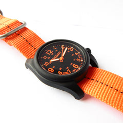 Bertucci DX3 Plus Field Resin Watch (Dash-Striped Orange Nylon Strap) 11042 - Watchfinder General - UK suppliers of Russian Vostok Parnis Watches MWC G10  - 2