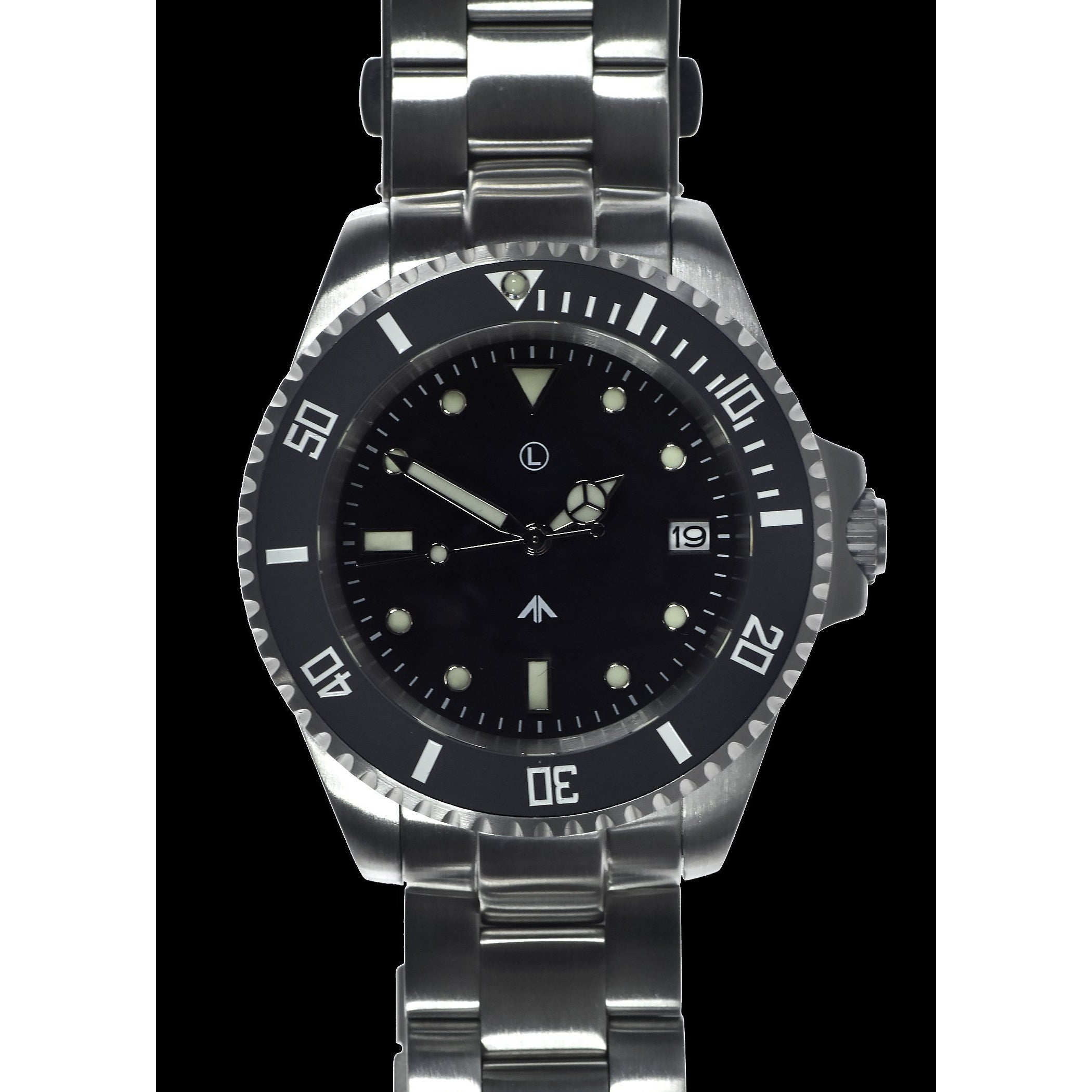 MWC 24 Jewel 300m Water Resistant Automatic Military Divers Watch Steel Bracelet with Sapphire Crystal and Ceramic Bezel