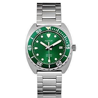Pantor Sea Lion Automatic Divers Watch Green 300M Stainless Steel
