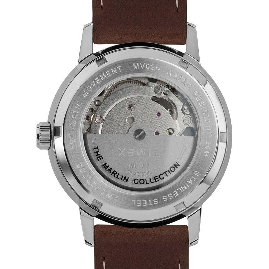 Timex Marlin Automatic Watch with Brown Leather Strap Silver - TW2T22700U