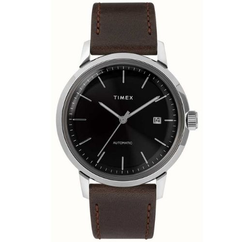 Timex Marlin Automatic Watch with Brown Leather Strap Black - TW2T230007U
