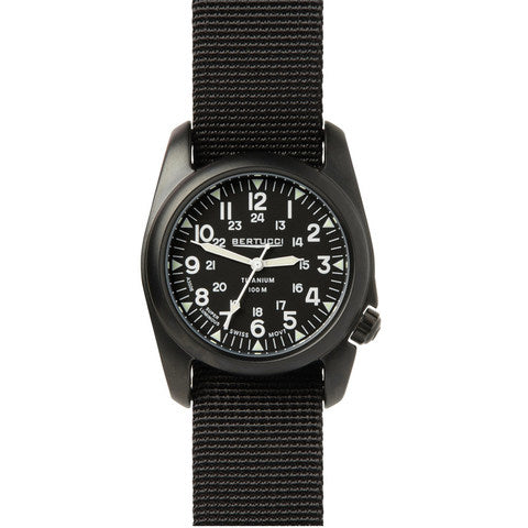 Bertucci A-2T Vintage Black Titanium Watch with Black Nylon Strap 12027