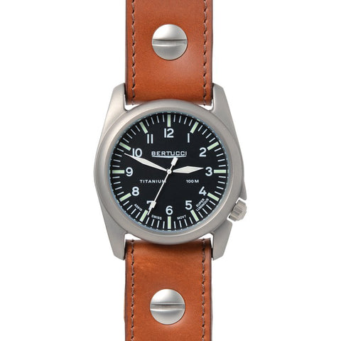 Bertucci A-4T Aero Vintage Titanium Watch (Vintage Tan Leather) 13401