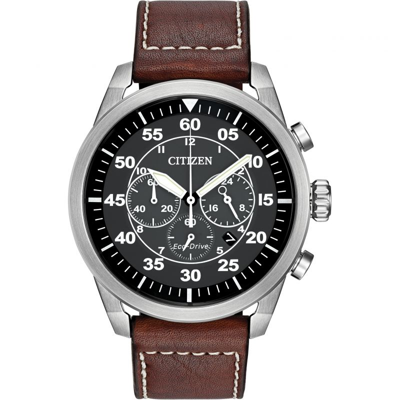 Citizen Avion Eco-drive Watch with Black Dial and Brown Leather Strap - CA4210-24E