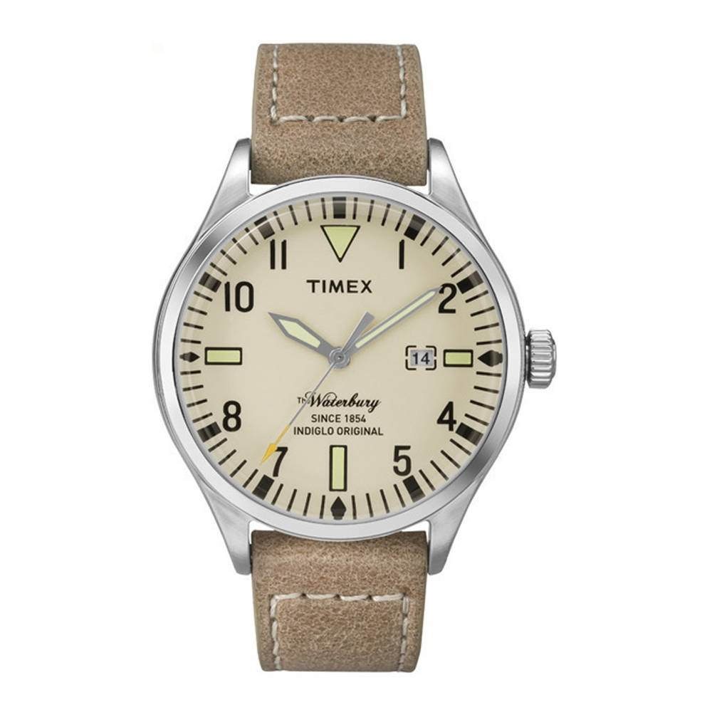 Timex Waterbury Cream Dial Watch with Beige Strap - TW2P84500