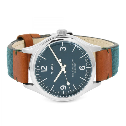 Timex Waterbury Blue Watch with Leather Strap - TW2P95700