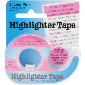 "Highlighter Tape .5""X393""-Pink"