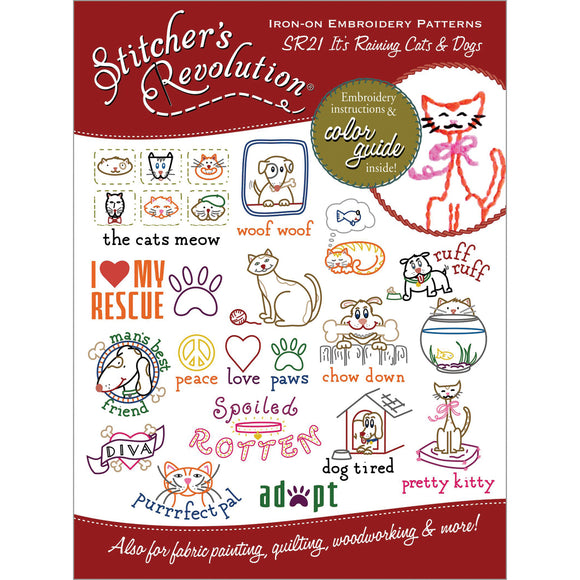 Stitcher's Revolution Iron-On Transfers-Raining Cats & Dogs